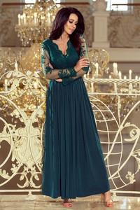 Sukienka NUMOCO maxi z długim rękawem z dekoltem w kształcie litery v
