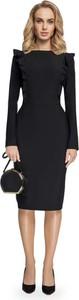 Czarna sukienka MOE z długim rękawem ołówkowa z okrągłym dekoltem