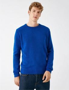 Niebieski sweter Koton z okrągłym dekoltem z wełny