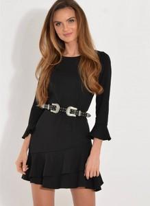 Czarna sukienka forseti.net.pl z okrągłym dekoltem z długim rękawem mini