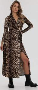 Brązowa sukienka born2be maxi z długim rękawem