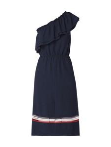 Granatowa sukienka Tommy Hilfiger rozkloszowana z asymetrycznym dekoltem
