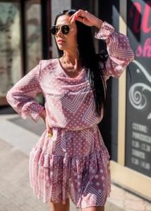 Sukienka Fason mini z okrągłym dekoltem z długim rękawem