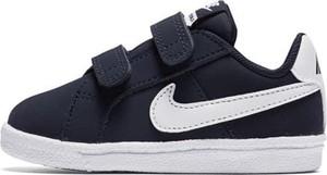 Granatowe trampki dziecięce Nike na rzepy ze skóry