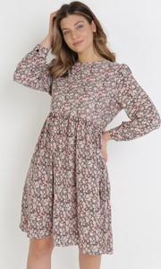 Brązowa sukienka born2be z okrągłym dekoltem mini