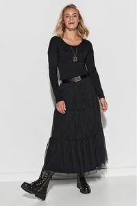 Czarna sukienka Makadamia maxi z długim rękawem