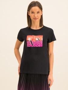 Czarny t-shirt Armani Exchange z krótkim rękawem w młodzieżowym stylu