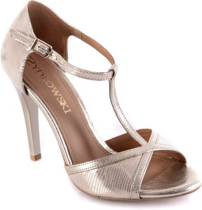 a3361db185b35 Srebrne sandały Calzado na szpilce na wysokim obcasie z klamrami