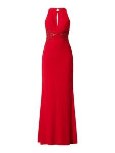 Czerwona sukienka Mascara maxi z dekoltem halter