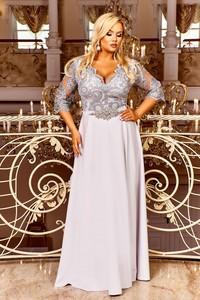 Sukienka Ptakmoda.com z długim rękawem z tkaniny z dekoltem w kształcie litery v