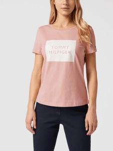Różowy t-shirt Tommy Hilfiger z okrągłym dekoltem z krótkim rękawem z bawełny