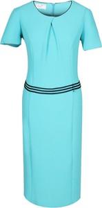Turkusowa sukienka Fokus midi w stylu klasycznym z krótkim rękawem