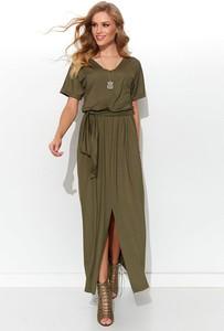 Zielona sukienka Numinou z krótkim rękawem z dekoltem w kształcie litery v