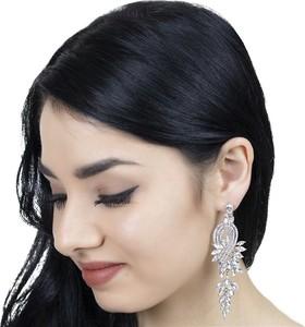 Iloko KOLCZYKI długie WISZĄCE kryształy ŚLUBNE srebrne
