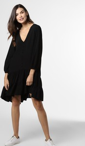Czarna sukienka EDITED z długim rękawem z dekoltem w kształcie litery v