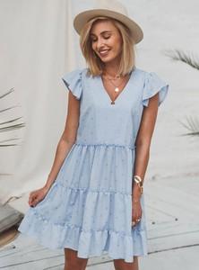 Niebieska sukienka SELFIEROOM z krótkim rękawem z bawełny