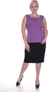 Fioletowa bluzka Fokus w stylu klasycznym bez rękawów z dekoltem w karo