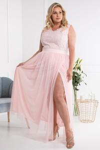 Różowa sukienka KARKO maxi z dekoltem w kształcie litery v bez rękawów