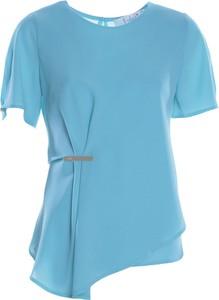 Niebieska bluzka Fokus z okrągłym dekoltem z krótkim rękawem