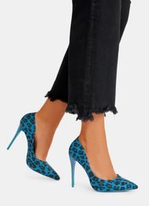 Niebieskie szpilki DeeZee w stylu klasycznym na wysokim obcasie ze spiczastym noskiem