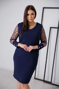 Niebieska sukienka tono.sklep.pl z długim rękawem prosta z tiulu