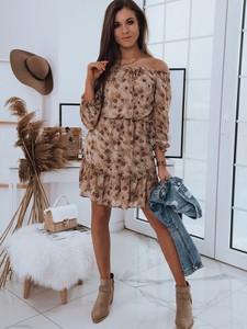 Brązowa sukienka Dstreet w stylu casual z długim rękawem