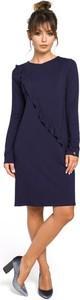 Sukienka Be w stylu casual z okrągłym dekoltem z długim rękawem