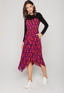 Sukienka Lavard z okrągłym dekoltem midi z tkaniny