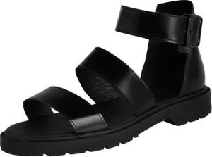Czarne sandały edited the label na platformie ze skóry z klamrami