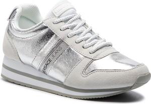 Buty sportowe Versace Jeans sznurowane w sportowym stylu z zamszu