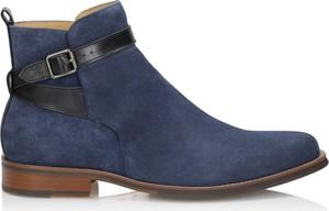 Granatowe buty zimowe Kazar ze skóry