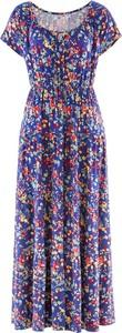 Sukienka bonprix bpc bonprix collection z krótkim rękawem w stylu casual rozkloszowana