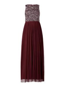 Czerwona sukienka Lace & Beads maxi bez rękawów z szyfonu