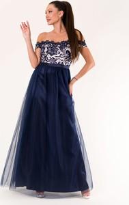 Niebieska sukienka Eva&Lola hiszpanka z krótkim rękawem