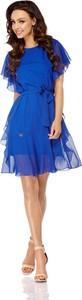 Niebieska sukienka Lemoniade rozkloszowana z okrągłym dekoltem