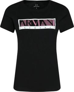 Czarny t-shirt Armani Exchange z okrągłym dekoltem z krótkim rękawem