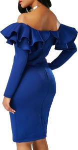 Elegrina sukienka midi emely niebieska