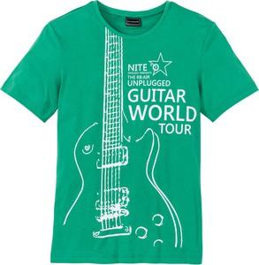 Zielony t-shirt bonprix rainbow w młodzieżowym stylu