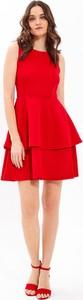 Czerwona sukienka Gate mini z okrągłym dekoltem