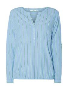 Niebieska bluzka Tom Tailor z długim rękawem z dekoltem w kształcie litery v