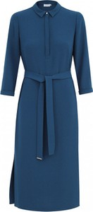 Niebieska sukienka POTIS & VERSO midi z tkaniny szmizjerka