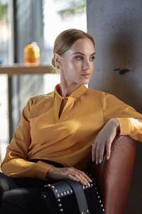 Bluzka Style z tkaniny w stylu casual z długim rękawem
