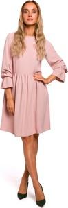 Sukienka Made Of Emotion mini rozkloszowana z okrągłym dekoltem