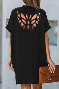 Czarna sukienka IVET w stylu casual z krótkim rękawem mini