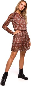 Sukienka MOE w stylu boho z długim rękawem z żabotem