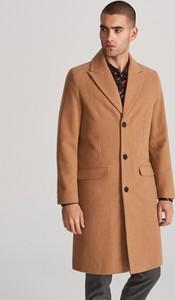Brązowy płaszcz męski Reserved w stylu casual z wełny