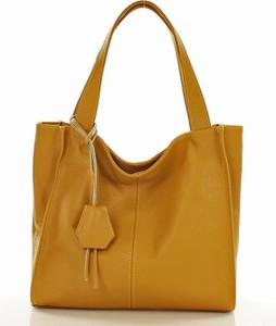 Żółta torebka MAZZINI duża w stylu casual