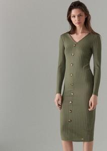 Zielona sukienka Mohito w stylu casual z dekoltem w kształcie litery v dopasowana