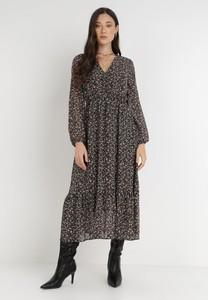Sukienka born2be z dekoltem w kształcie litery v midi z długim rękawem