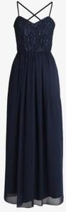 Niebieska sukienka Swing maxi z dekoltem w kształcie litery v na ramiączkach